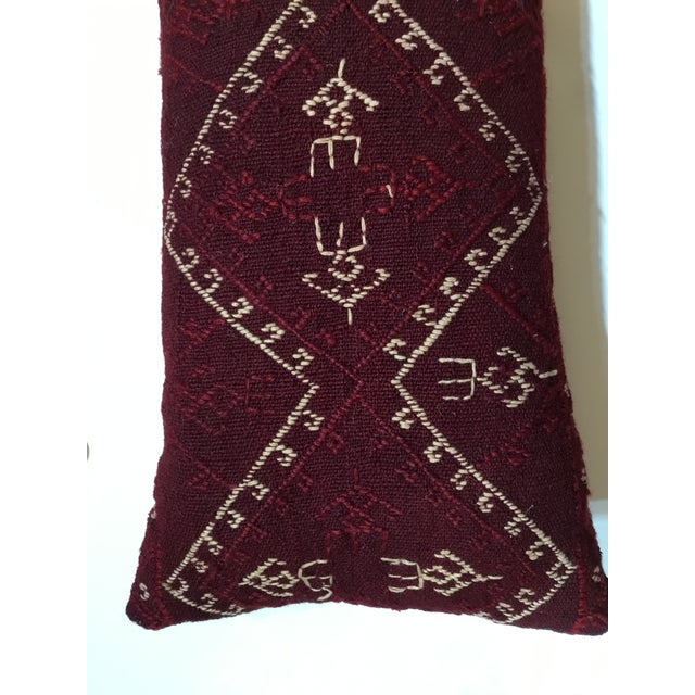 Red Hand Embroidery Textile Pillows - A Pair For Sale - Image 8 of 10