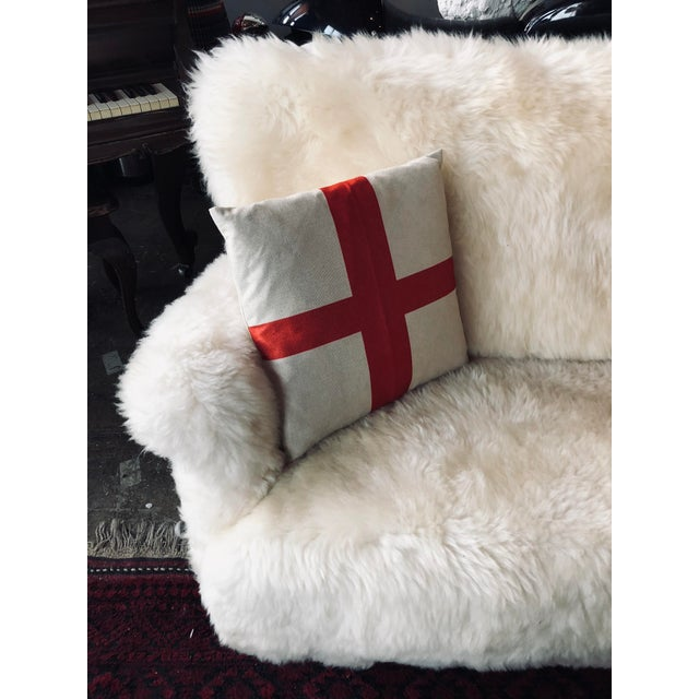 White Mongolian Wool Sofa For Sale - Image 9 of 13
