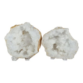 Great Large Crystal Split Geode - 2 Pieces For Sale