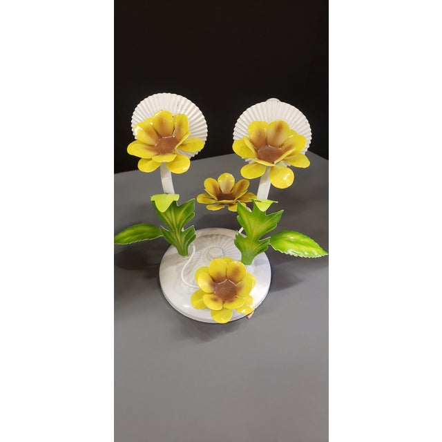 Italian Tole Yellow Daffodil Sconces - a Pair For Sale - Image 9 of 10