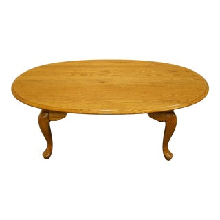 """Broyhill Furniture Solid Oak Country French 46"""" Oval Accent Coffee Table 794-2081 For Sale"""