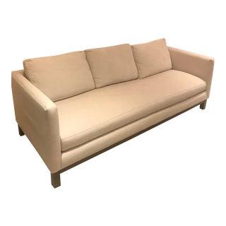 Modern Cobble Hill Prescott Cream Linen Sofa For Sale