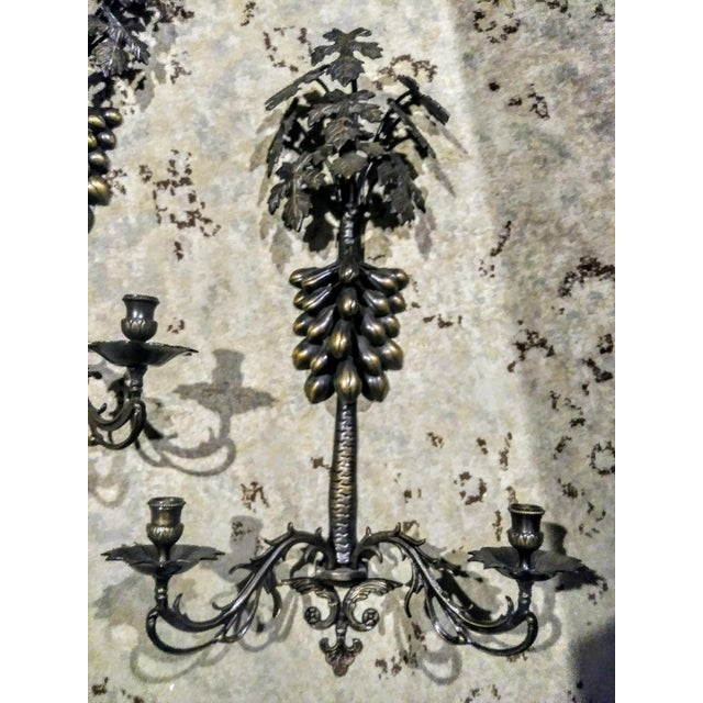 A Pair Large Wrought Iron Grape Leaf 2 Candle Wall Sconce Candelabras For Sale In West Palm - Image 6 of 7