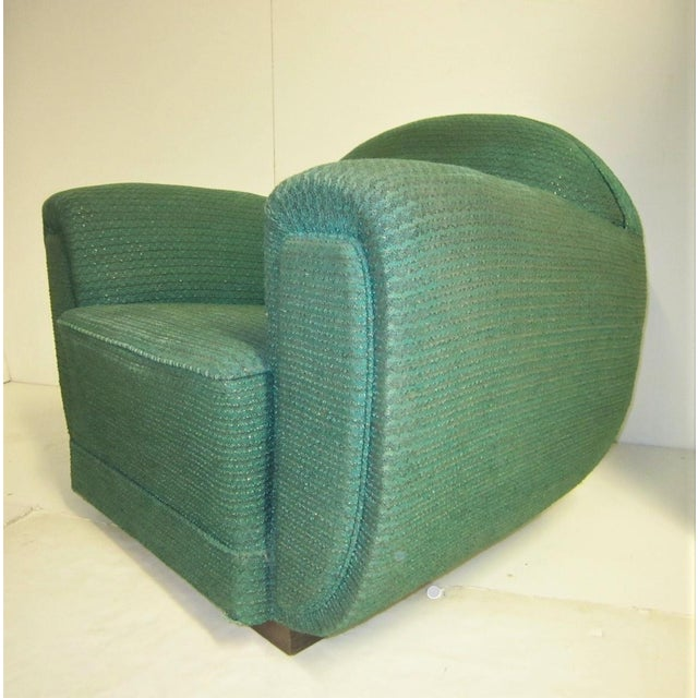 Textile 1930s French Art Deco Upholstered Club Chairs-a Pair For Sale - Image 7 of 13