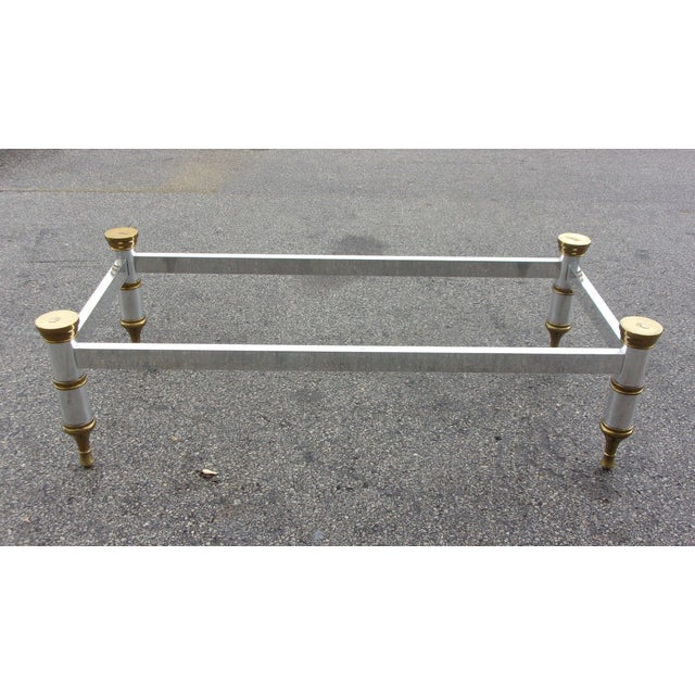 Mid-Century Aluminum & Brass Coffee Table - Image 4 of 11