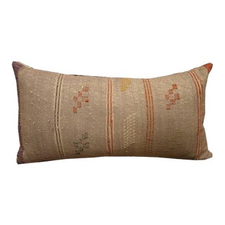 Boho Chic Oblong Purple & Red Textile Pillow For Sale