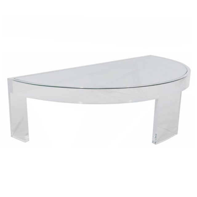 Modern DEMILUNE LUCITE COCKTAIL TABLE For Sale - Image 3 of 7