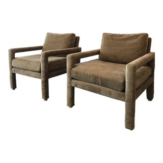 Set of 2 1970s Mid-Century Modern Velvet Parsons Chairs - a Pair For Sale