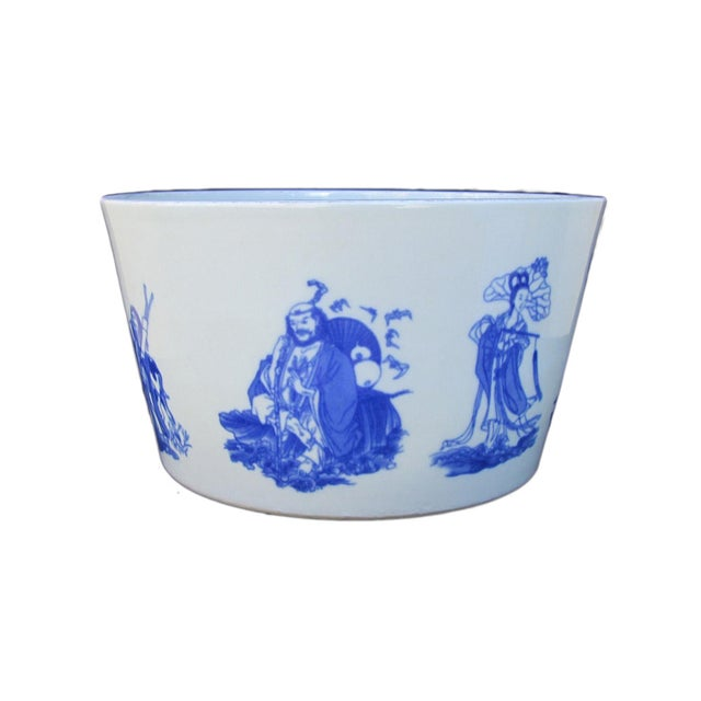 Chinese Blue & White Porcelain 8 Immortal Pot/Bowl - Image 1 of 7