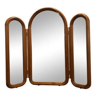 Pedersen & Hansen Folding Arched Teak 3 Part Mirror, Made in Denmark For Sale