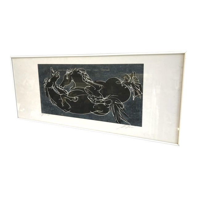 Abstract Framed Relief Print of Two Black Horses For Sale