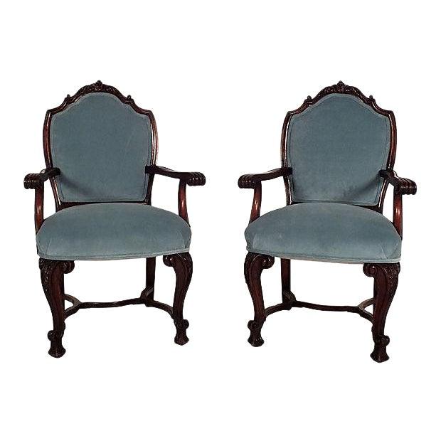 Regency Mahogany Open Armchairs - A Pair - Image 1 of 6
