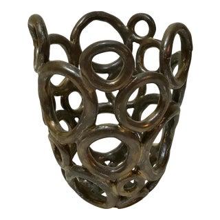 Bronze Orb Ceramic Vase For Sale
