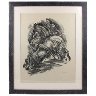 Adolf Uzarski Charcoal Drawing Lithograph Signed 1919 'Tales of the Parrot' For Sale