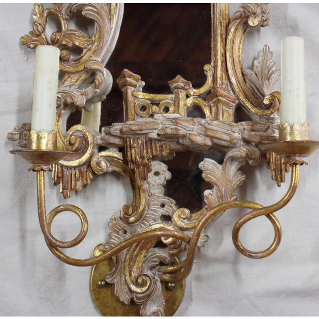 Gold 20th Century Rococo Gold Sconces- a Pair For Sale - Image 8 of 12