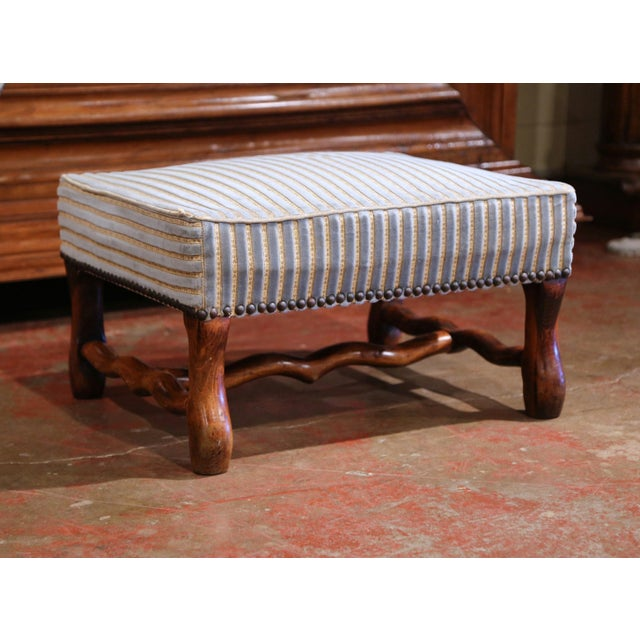 Early 20th Century French Louis XIII Carved Mutton Bone Stool With Stripe Velvet For Sale In Dallas - Image 6 of 9
