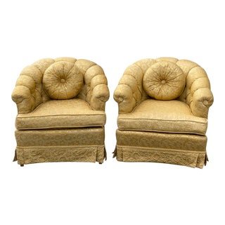 Mid Century j.b. Van Sciver Tufted Gold Club Chairs - a Pair For Sale