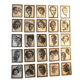 Framed Portraits of Oscar Winners From 1928-1961 - Set of 25 For Sale