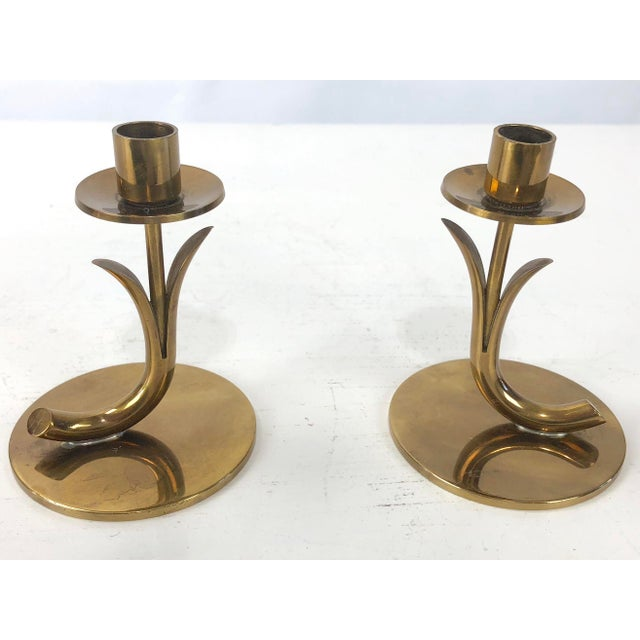 Mid 20th Century 1950's Ystad Metall Brass Candleholders by Gunnar Ander - a Pair For Sale - Image 5 of 9