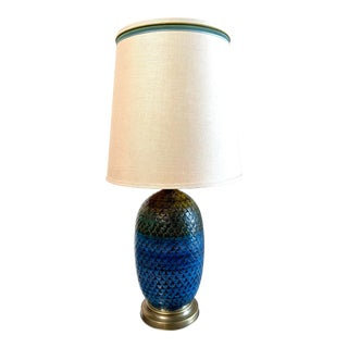 1960s Azure Blue Italian Table Lamp For Sale