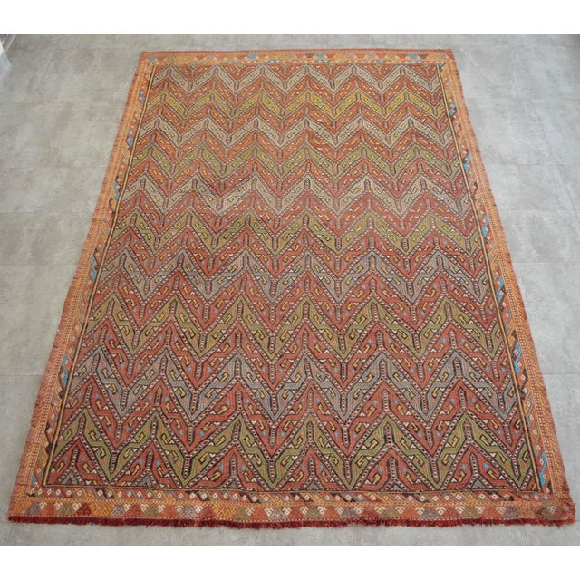 """Traditional Antique Turkish Kilim Rug Hand Woven Wool Jajim Braided Area Rug - 5'6"""" X 8'3"""" For Sale - Image 3 of 10"""