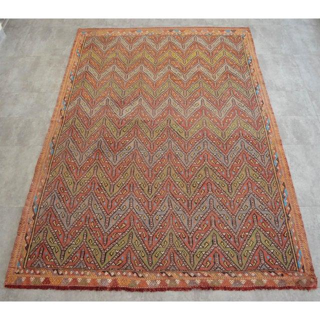 "Islamic Antique Turkish Kilim Rug Hand Woven Wool Jajim Braided Area Rug - 5'6"" X 8'3"" For Sale - Image 3 of 10"