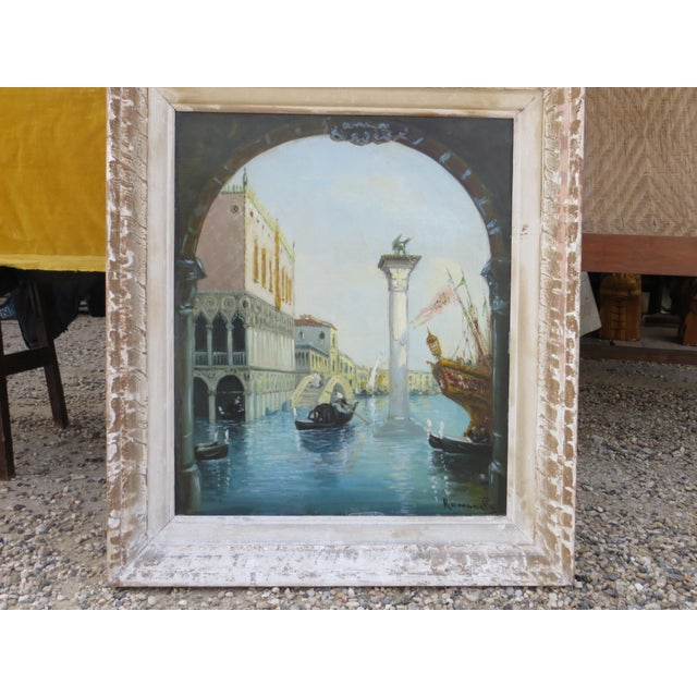 "Impressionism 1930s Venice ""Aqua Alta"" Oil Painting For Sale - Image 3 of 7"