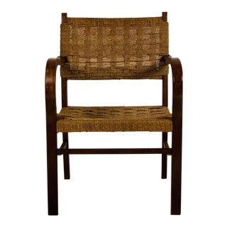 Early Bauhaus Woven Rope and Oak Armchair by Erich Dieckmann For Sale