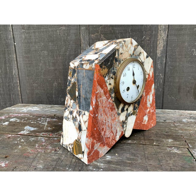 1920s French Art Deco Marble Mantle Clock For Sale - Image 5 of 12