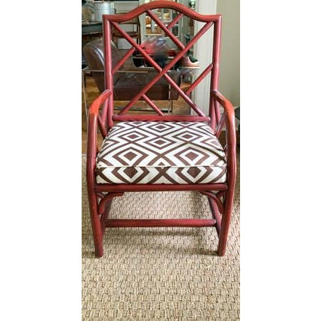 Mid-Century Modern Vintage Chinese Chippendale Fretwork Chair For Sale - Image 3 of 7