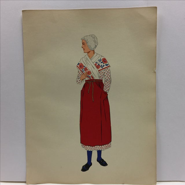 1930s Antique Burgundy Woman's Costume Print - Image 2 of 4