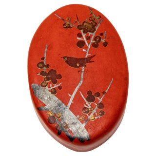 Vintage Bird Motif Paper Mâché Red Pillbox For Sale