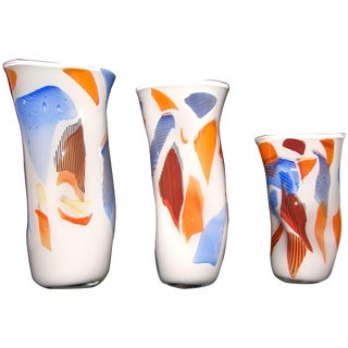 Davide Dona Free-Form White, Orange, Red, Blue Murano Art Glass Vases - Set of 3 For Sale