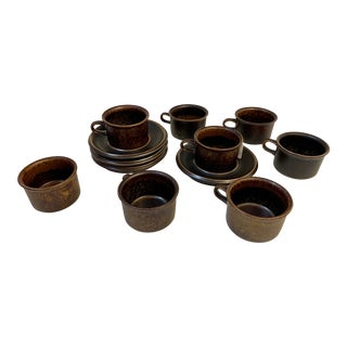 Arabia Finland Espresso Cups and Saucers - 12 Piece Set For Sale