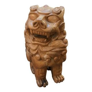 Large Wooden Foo Dog Figure For Sale