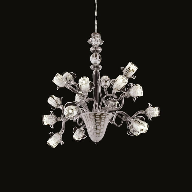 Italian modern Venetian chandelier consisting of clear Murano glass with Murrine and filigree techniques on nickel frame...