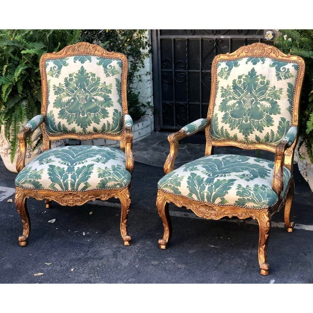 Green Minton-Spidell Mariano Fortuny Louis XVI Bergere Chairs - a Pair For Sale - Image 8 of 8