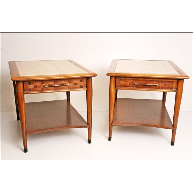 Danish Modern Wood Stone Top End Tables - Pair - Image 2 of 11