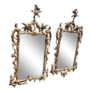 19th Century Antique English Gilt Wood Rococo Chippendale Mirrors - a Pair For Sale