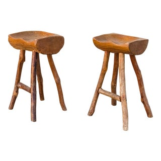 Primitive Sabena Rustic Organic Carved Wood Stools - A Pair