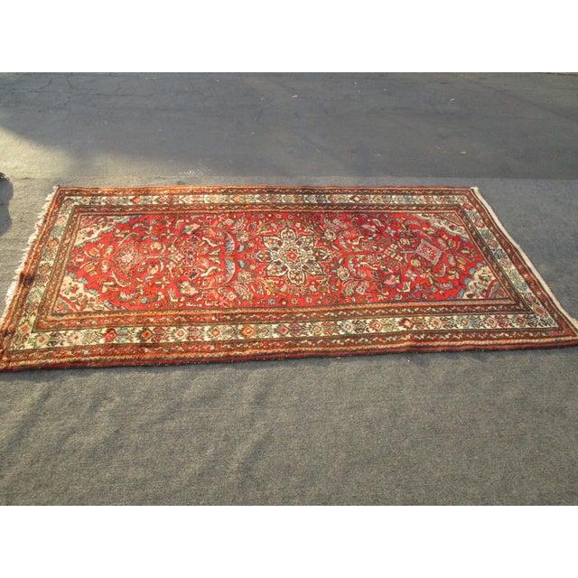 Vintage Red Floral Wool Persian Rug - 3′1″ × 6′1″ - Image 5 of 11