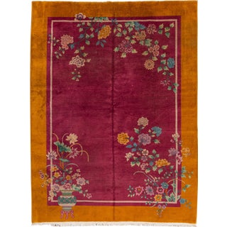 "Apadana - Antique Chinese Deco Rug, 8'8"" x 11'2"" For Sale"