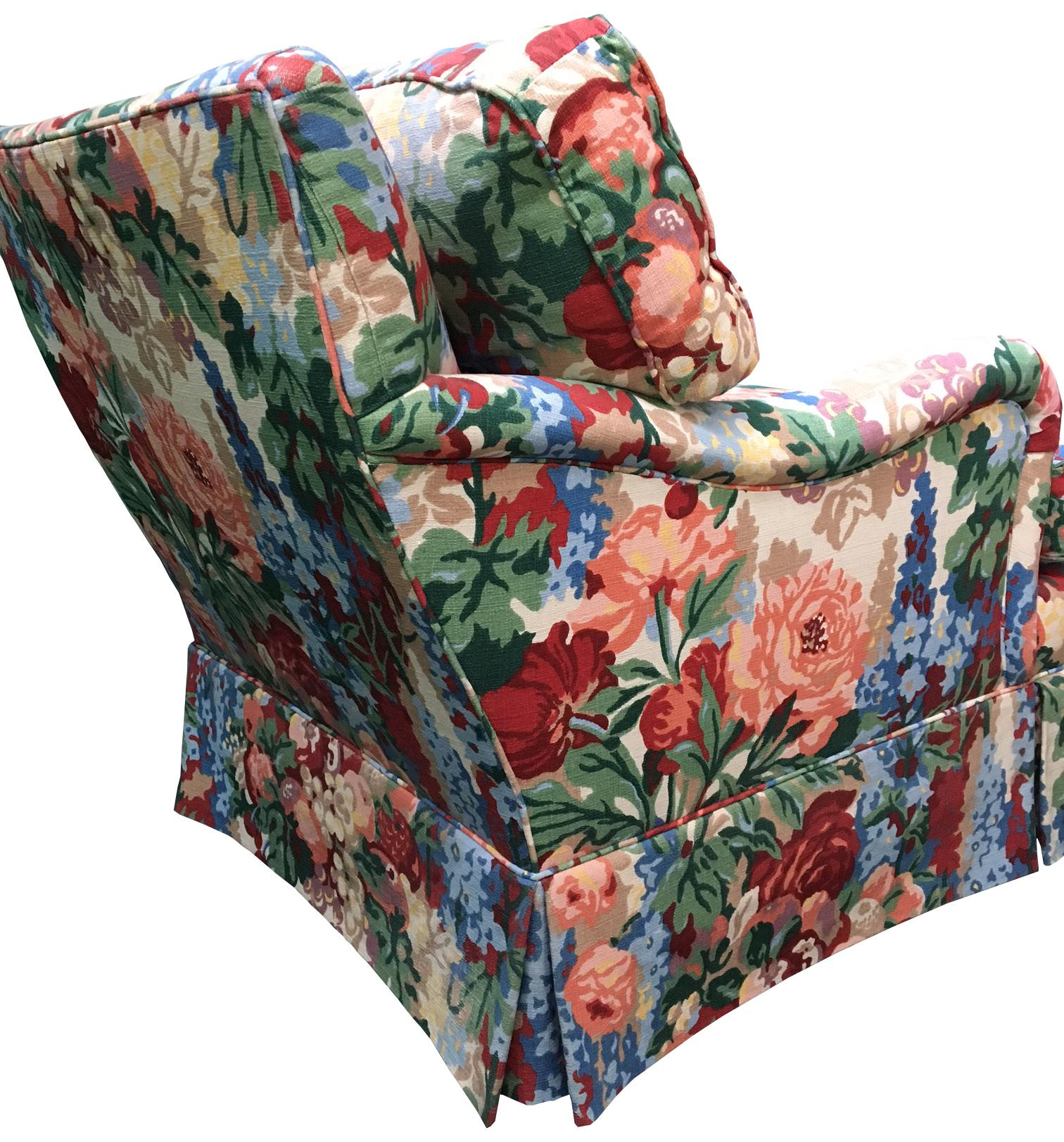 Delightful Pair Of Henredon Floral Club Chairs In The Style Of Dorothy Draper   Image  3 Of