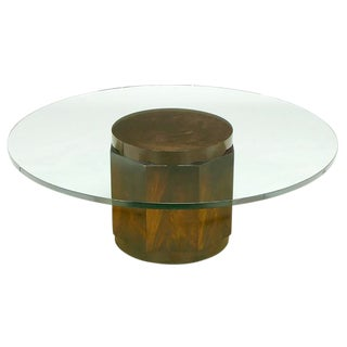 Edward Wormley Flame Mahogany and Glass Coffee Table for Dunbar For Sale