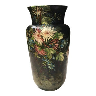 Large French Majolica Vase with Flowers Edouard Gilles, circa 1880 For Sale