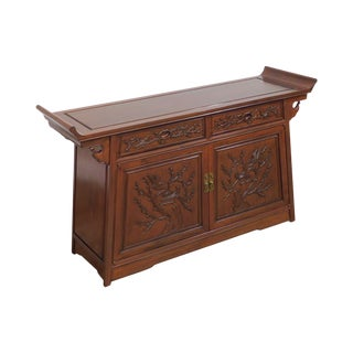Chinese Rosewood Vintage Carved Console Cabinet For Sale