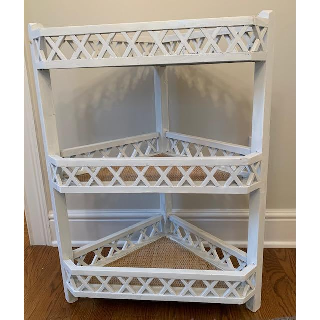 Wood Shabby Chic Corner Lattice Shelf/Plant Stand With Rattan Lining For Sale - Image 7 of 7