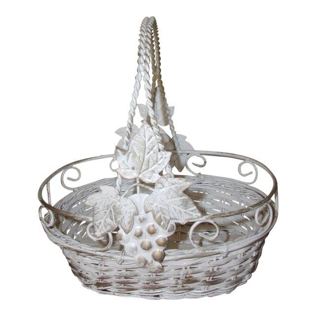20th Century Vintage Metal & Straw Oval Basket For Sale