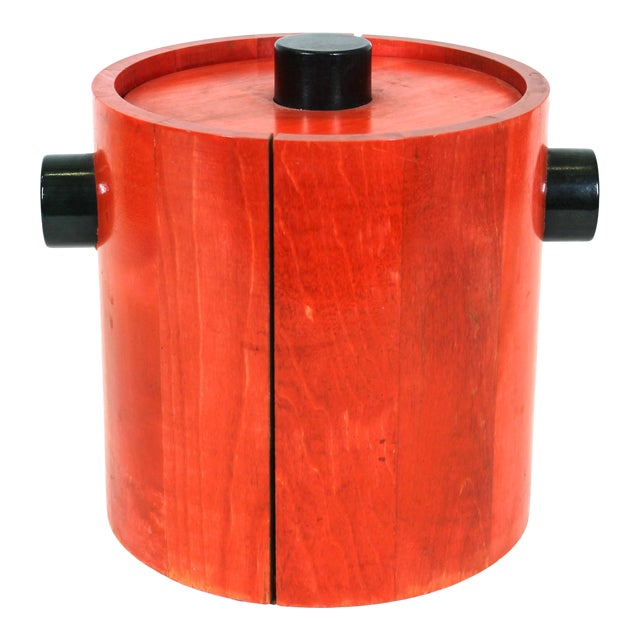 Mid-Century Modern Ice Bucket in Red & Black Wood For Sale
