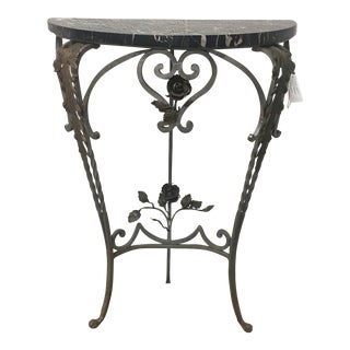 Iron Floral Demilune Table With Marble Top